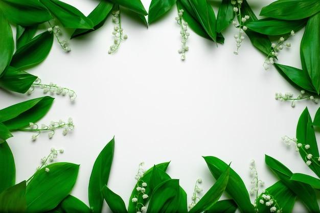 Cornice estiva vista dall'alto di mughetto fresco con foglie su uno sfondo bianco isolato con c...