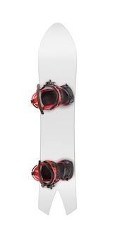 Vista dall'alto dello snowboard a coda di rondine con attacchi. attrezzatura sportiva isolata su priorità bassa bianca