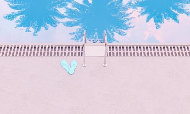 Vista dall'alto della piscina con riflessi di palme e infradito accanto alle scale. concetto di vacanza estiva. rendering 3d
