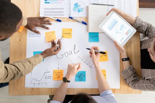 Vista dall'alto di tre manager o analisti interculturali che discutono degli obiettivi aziendali scritti su fogli di carta attaccati su un grosso foglio alla riunione di avvio
