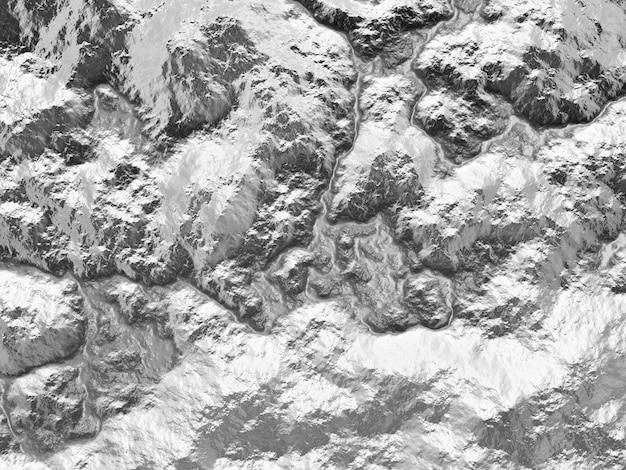 Vista dall'alto del terreno topografico in bianco e nero