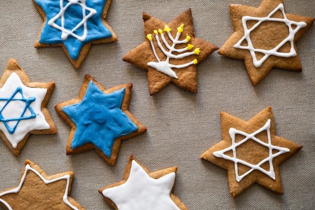 Biscotti tradizionali hanukkah vista dall'alto