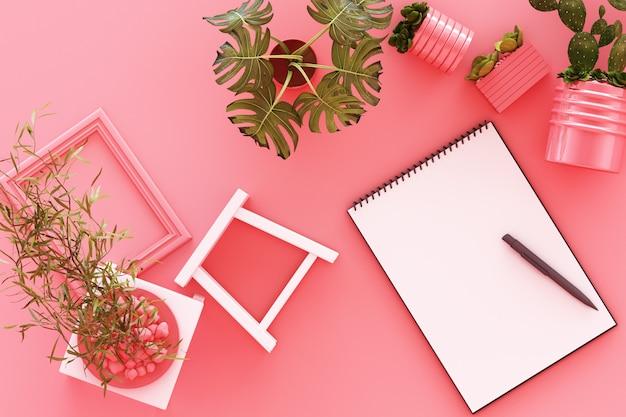Vista dall'alto di a4 bianco invertito la carta con appunti nero pianta in vaso cornice di cactus e penna sul rosa pastello rendering 3d