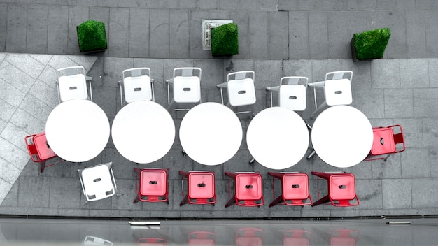 Vista superiore del tavolo bianco tavolo e sedie all'aperto