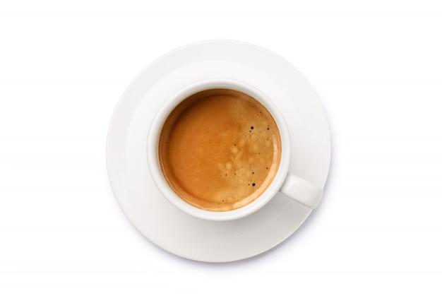 Vista dall'alto di una tazza bianca di caffè espresso percorso cllipping.