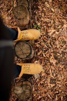Vista dall'alto donna in piedi con scarponi da montagna su foglie autunnali e legno