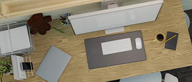 Vista dall'alto di una scrivania per computer in legno con un modello desktop e un dispositivo sull'illustrazione 3d del tavolo