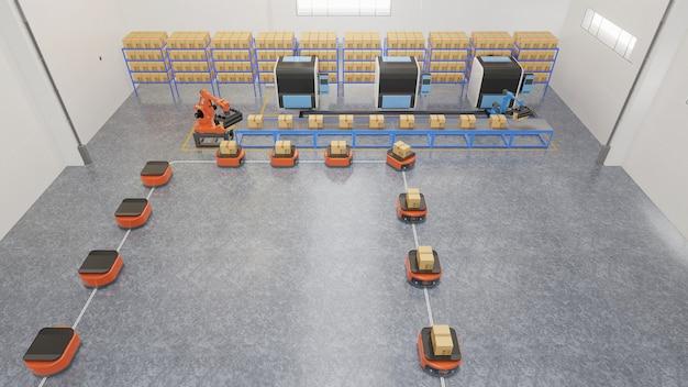 Topview.factory automazione con agv e braccio robotico nei trasporti per aumentare il trasporto in sicurezza.