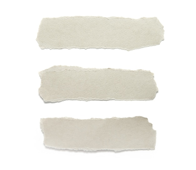 Carta strappata. raccolta di pezzi strappati carta isolato su bianco.