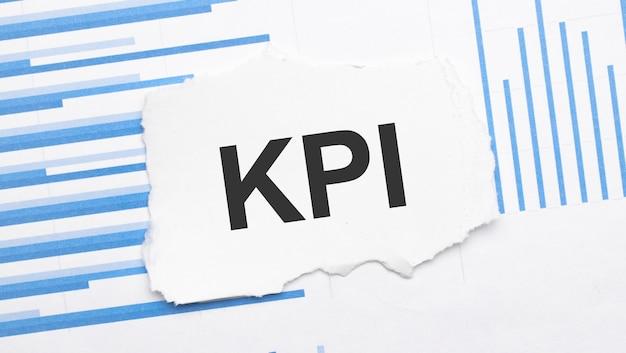 Carta strappata con testo kpi sul report grafico a barre