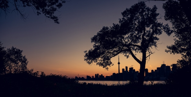 Orizzonte della città di toronto alla notte, ontario, canada