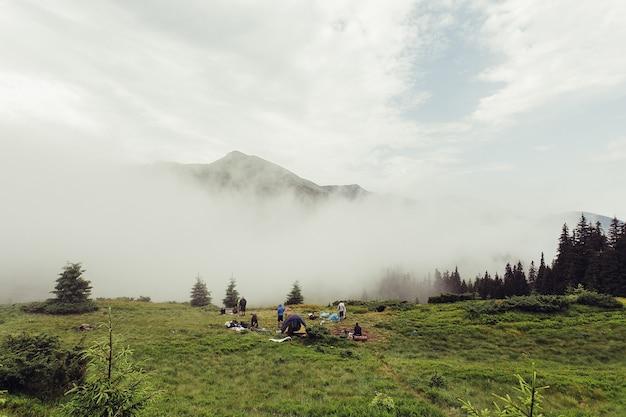 Turismo, montagne, stile di vita, concetto di natura - pendio di montagna boscoso in una nuvola bassa con le conifere sempreverdi avvolte nella nebbia in una vista panoramica del paesaggio