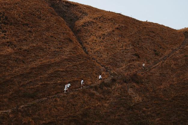 Turisti che fanno un'escursione nella bella collina marrone all'isola di padar labuan bajo