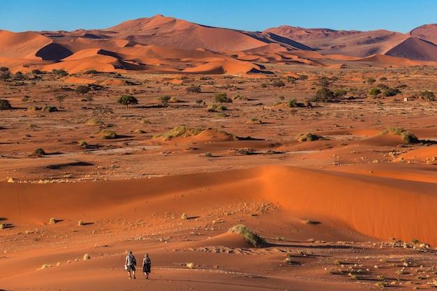 Turisti che camminano nel deserto del namib sossusvlei