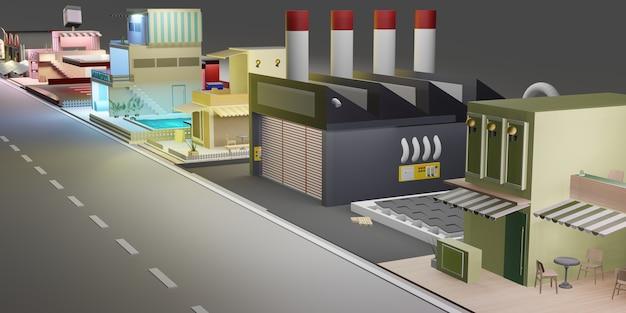 Edificio a schiera paesaggio urbano e strade con blocchi di città illustrazione 3d di casa residenziale