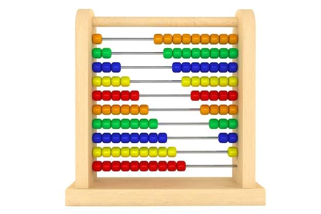 Abaco giocattolo con perline color arcobaleno su sfondo bianco