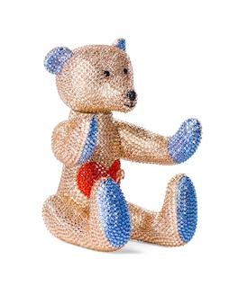 Orsetto giocattolo fatto di strass e cristalli su sfondo bianco