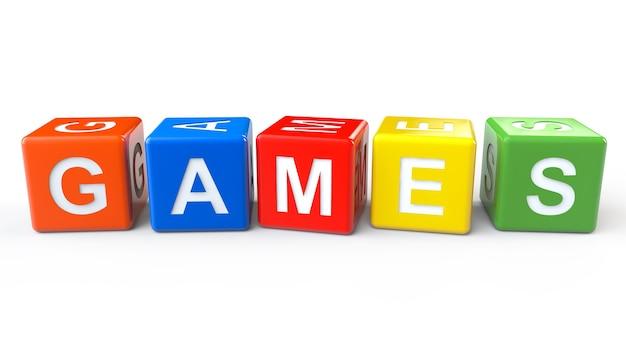 Blocchi giocattolo con segno di giochi su sfondo bianco