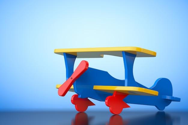 Giocattolo biplano multicolore su sfondo blu. rendering 3d