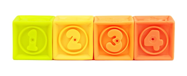 Numero del giocattolo blocchi colorati isolati su sfondo bianco