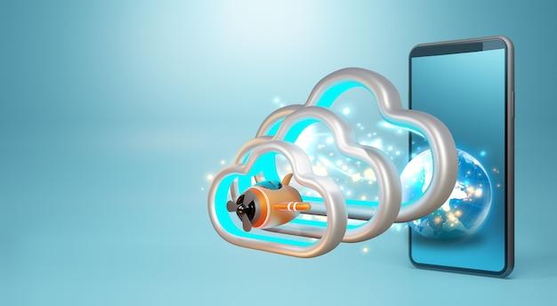 Aereo giocattolo su una nuvola. rendering 3d