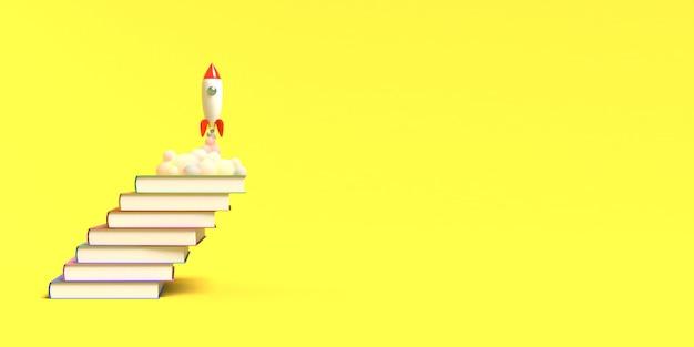 Il razzo giocattolo decolla dai libri che vomitano fumo su uno sfondo bianco. simbolo del desiderio di educazione e conoscenza. illustrazione di scuola. rendering 3d.