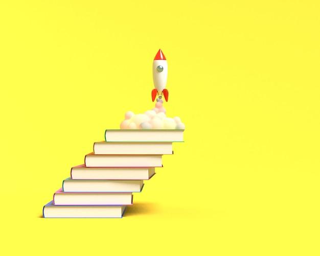 Il razzo giocattolo decolla dai libri che vomitano fumo su uno sfondo bianco