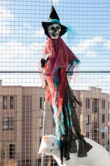 Scheletro giocattolo in costume da strega impiccato su reticolo in finestra contro casa e cielo blu e gatto bianco