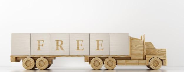 Il camion giocattolo trasporta grandi cubi di legno per pubblicizzare il servizio offerto