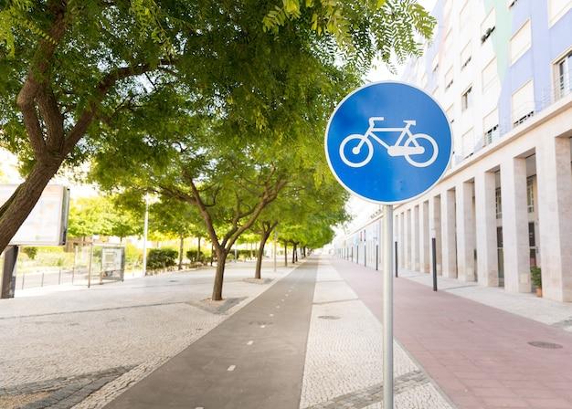 Pista per ciclisti nel parco al tramonto