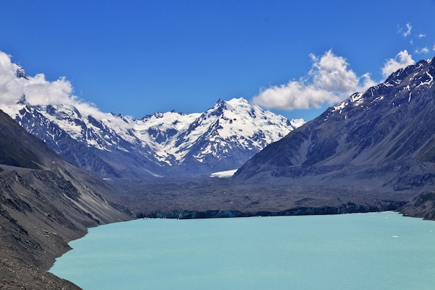 Monitoraggio sul ghiacciaio di tasman, nuova zelanda,