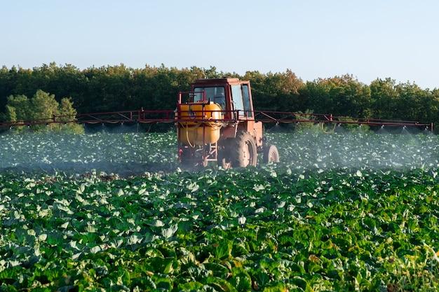 Il trattore spruzza prodotti chimici e pesticidi nel campo di una fattoria con verdure