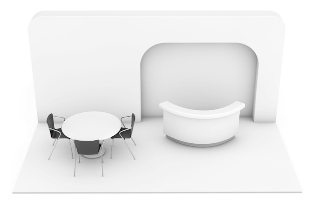 Stand fieristico commerciale commerciale su sfondo bianco. rendering 3d