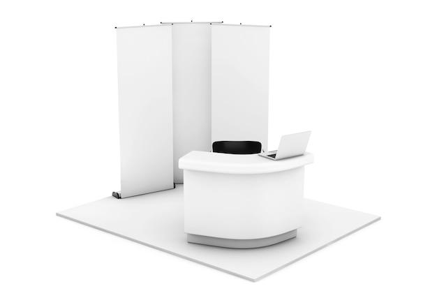 Stand fieristico commerciale su sfondo bianco