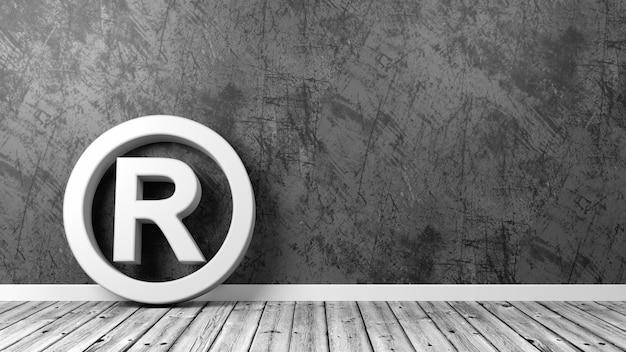 Simbolo del marchio sul pavimento isolato