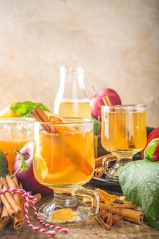 Bevanda alcolica tradizionale autunno inverno. sidro di mele caldo e piccante.