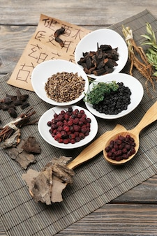 Ingredienti di erboristeria cinese tradizionale con geroglifici non reali, primo piano