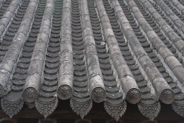 Tetto di tegole di architettura delle residenze cinesi tradizionali nella casa popolare di tianshui folk arts museum di hu shi, gansu cina