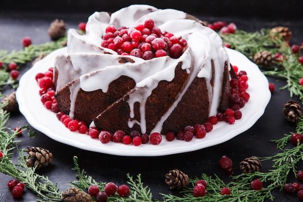 Tradizionale budino di torta di frutta di natale