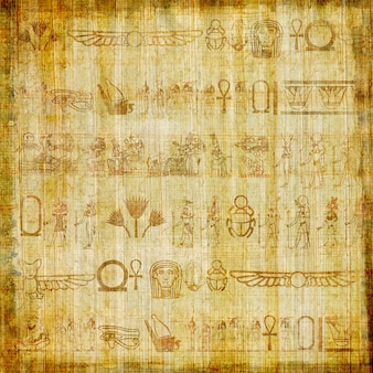 Papiro egiziano tradizionale fatto a mano con antichi geroglifici