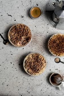 Tradizionale italiana tiramisù fatto in casa con mascarpone e cacao in polvere vista dall'alto