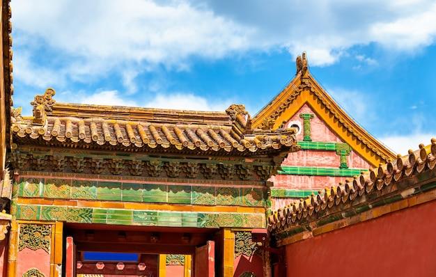 Tetti tradizionali della città proibita di pechino, cina