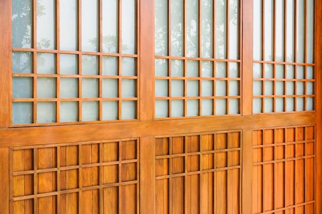 Legno tradizionale di stile giapponese, struttura di legno giapponese shoji, decorazione d'interni casa in legno in stile giapponese
