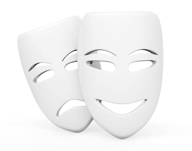 Maschere tragicomiche del teatro. maschere triste e sorriso su sfondo bianco