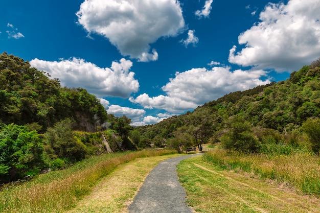 Traccia in uno splendido paesaggio colorato del parco della valle vulcanica di waimangu, rotorua, nuova zelanda