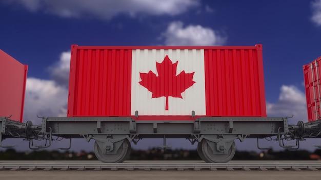 Treno e container con la bandiera del canada. trasporto ferroviario. rendering 3d.