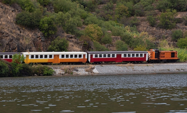 Treno in movimento lungo il fiume in portogallo