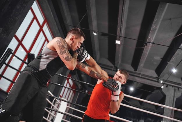 Allenamento di uno sportivo bello e duro in abbigliamento sportivo che lancia una croce alla testa nella palestra di boxe