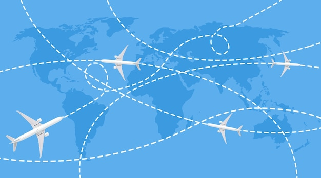 Traiettorie di aerei passeggeri sulla mappa del mondo blu