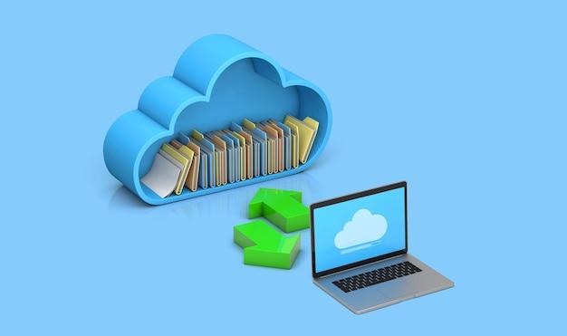 Trasferimento di file e dati dal server al computer. archiviazione cloud. sfondo blu. rendering 3d.